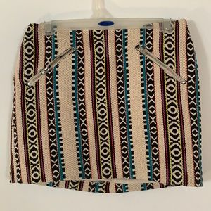 Tribal Pattern Zipper Skirt